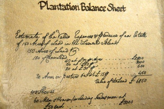 Balance de una plantacion en el Museo de Antigua y Barbuda en St John's