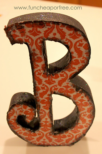 Completed wooden B on a counter, from Fun Cheap or Free