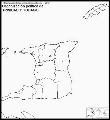 TRINIDAD Y TOBAGO, Mapa de la organizacin poltica de TRINIDAD Y TOBAGO, blanco y negro