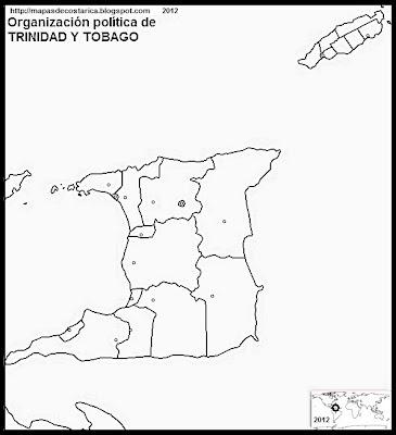 TRINIDAD Y TOBAGO, Mapa de la organización política de TRINIDAD Y TOBAGO, blanco y negro