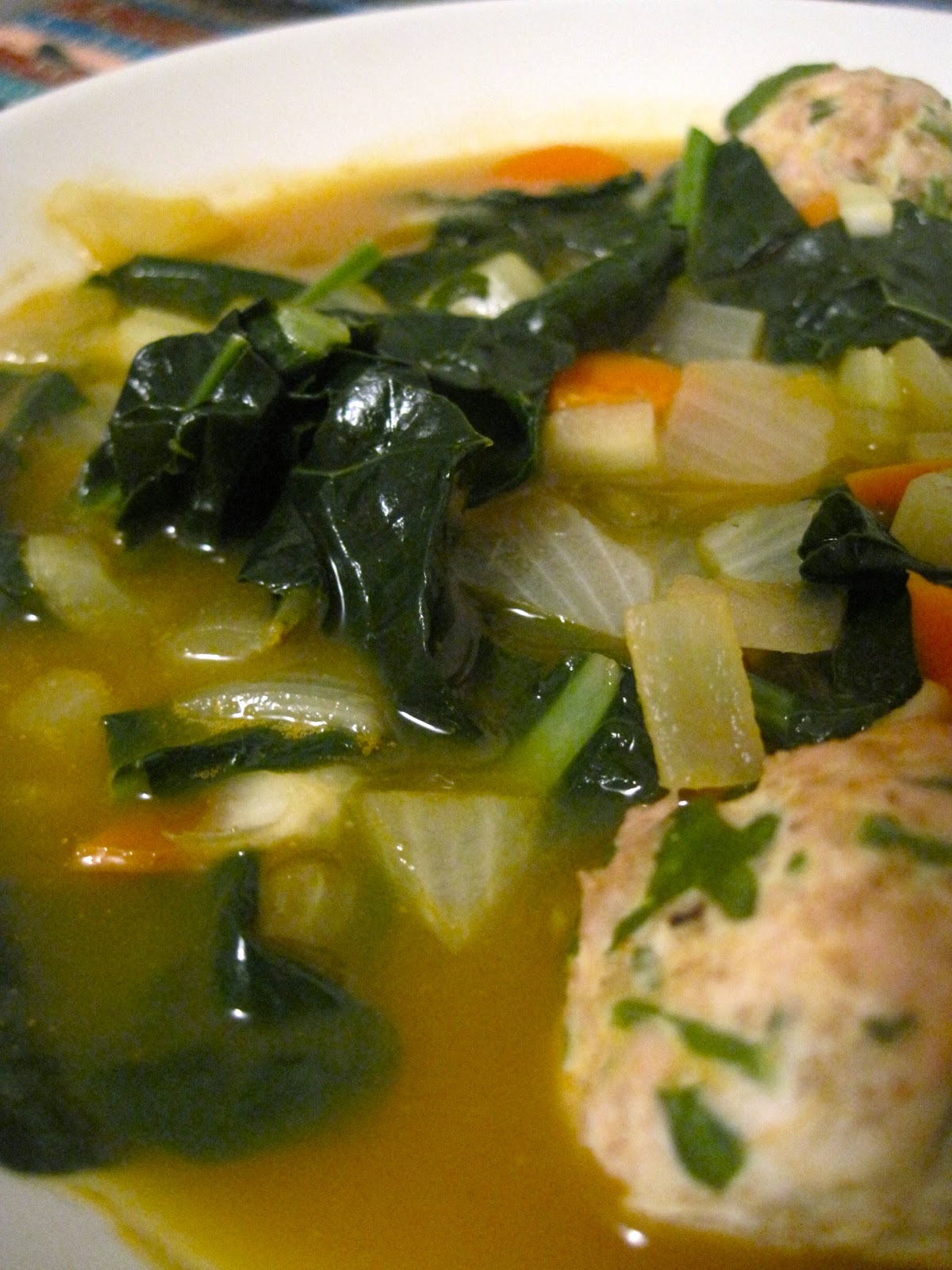 Italian Wedding Soup with Turkey Meatballs (adapted from Serious Eats ...