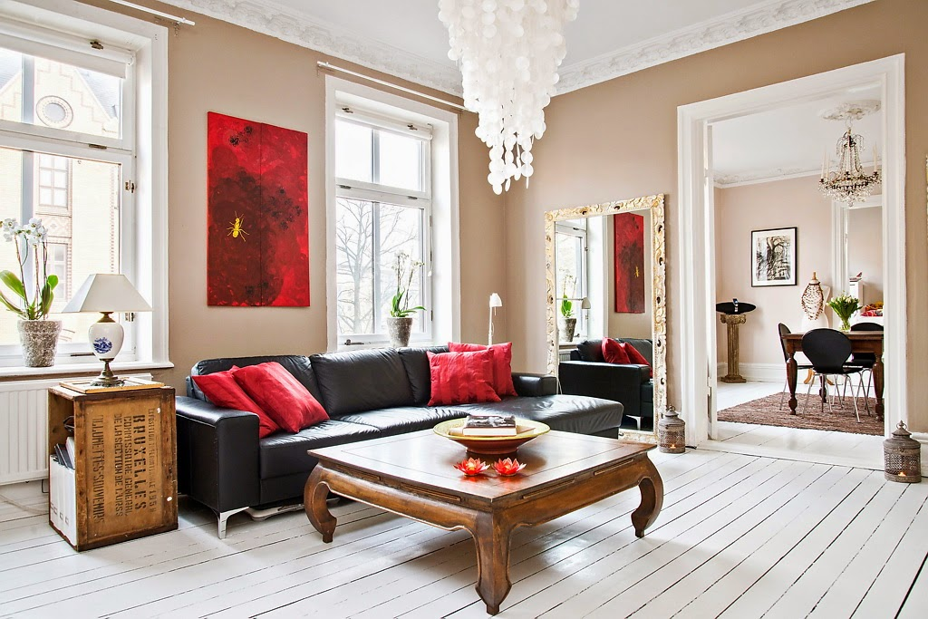 amenajari, interioare, decoratiuni, decor, design interior, stil scandina, apartament 3 camere, living, rosu,