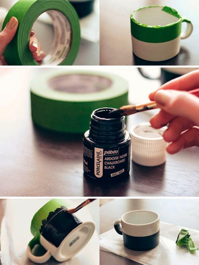 Cómo pintar la taza con la pintura pizarra