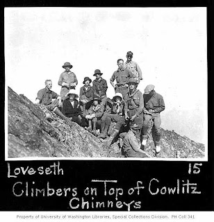 Climbers on top of Cowlitz Chimneys