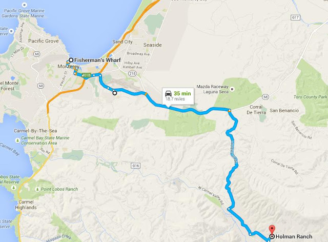 Map of the route from Monterey to Holman Ranch