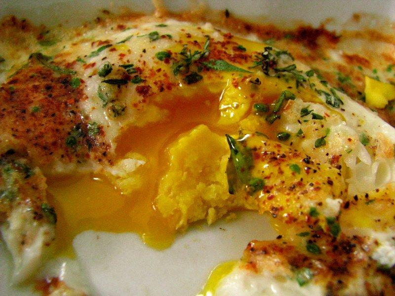 Burp!: Using and Preserving Summer Herbs: Herby Baked Eggs