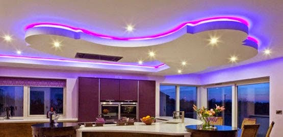 Living room design - Lights used in false ceiling ...