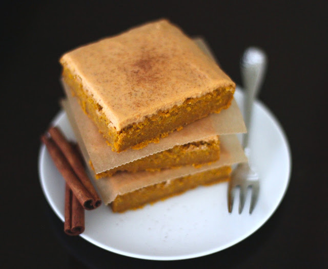 Healthy Maple Pumpkin Blondies with Pumpkin Pie Frosting