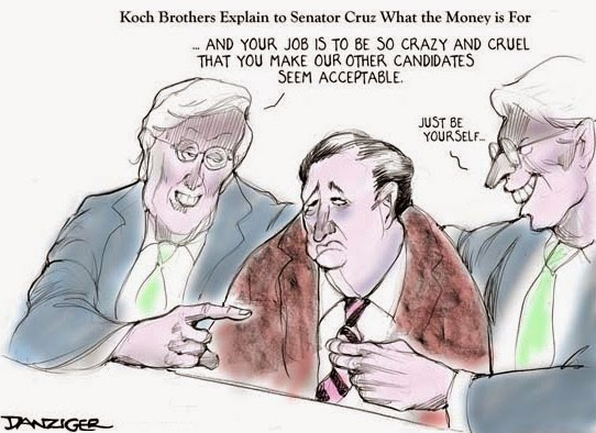 Danziger: Ted Cruz & the Koch brothers.