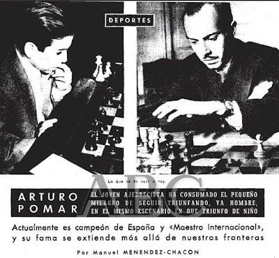 Primera página del artículo en ABC sobre Arturo Pomar de 1957