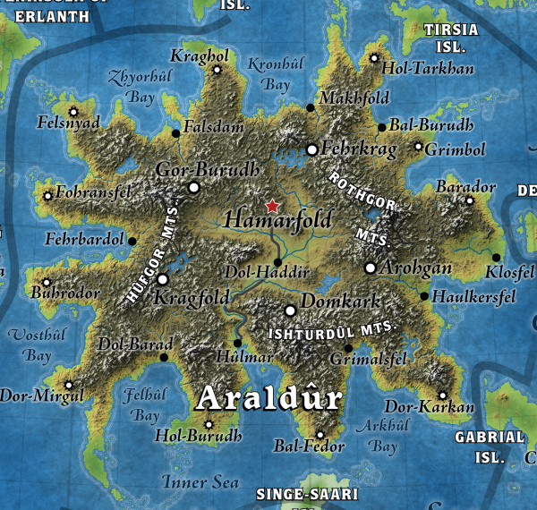 A full view of the dwarven realm of Araldûr, Great Caldera, World of Calidar.  Topographical map.  Stereographic Projection.