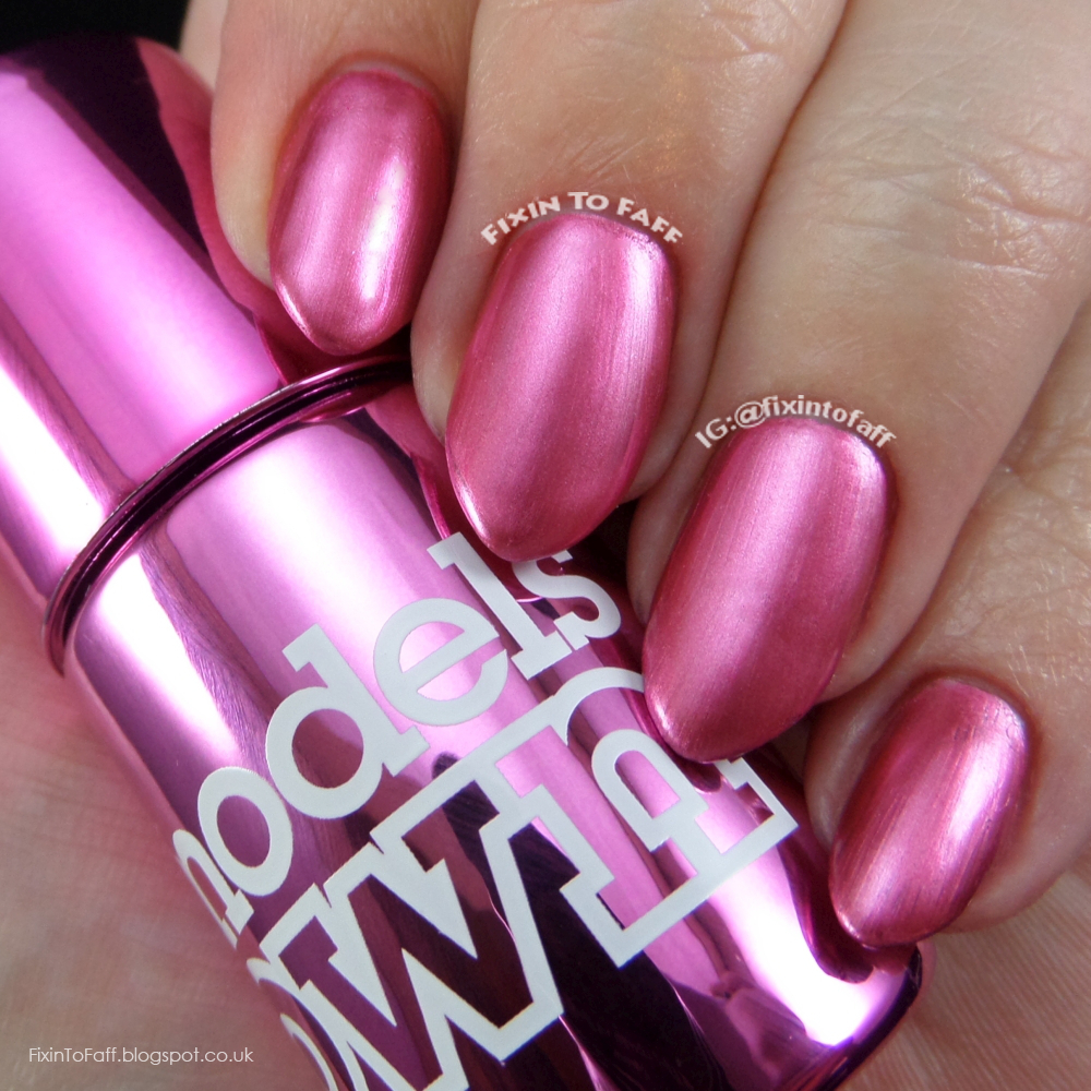 Swatch and review of Models Own Colour Chrome collection, Chrome Cerise