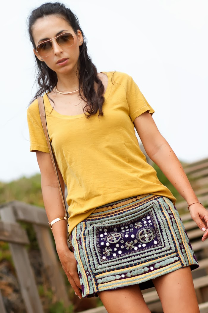 Withorwithoutshoes Look with PURPLE & MUSTARD ETHNIC SKIRT