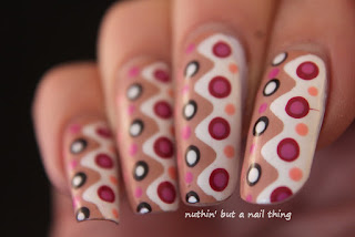 Zig-zags and polka dots nail art design ideas