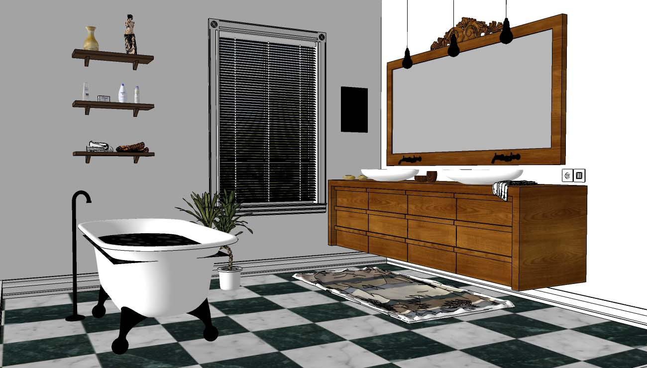 Sketchup texture free 3d model elegant bathroom 3 vray for Bathroom design 3d model