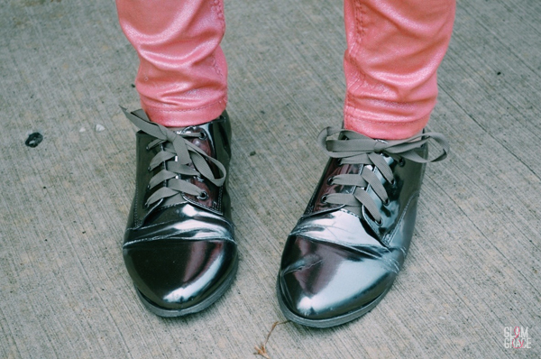 ASOS metallic oxfords
