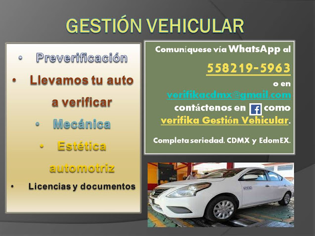PUBLICIDAD... ¿DUDAS QUE TU AUTO PASE LA VERIFICACIÓN?  le damos servicio...WHASTAPP 558219-5963