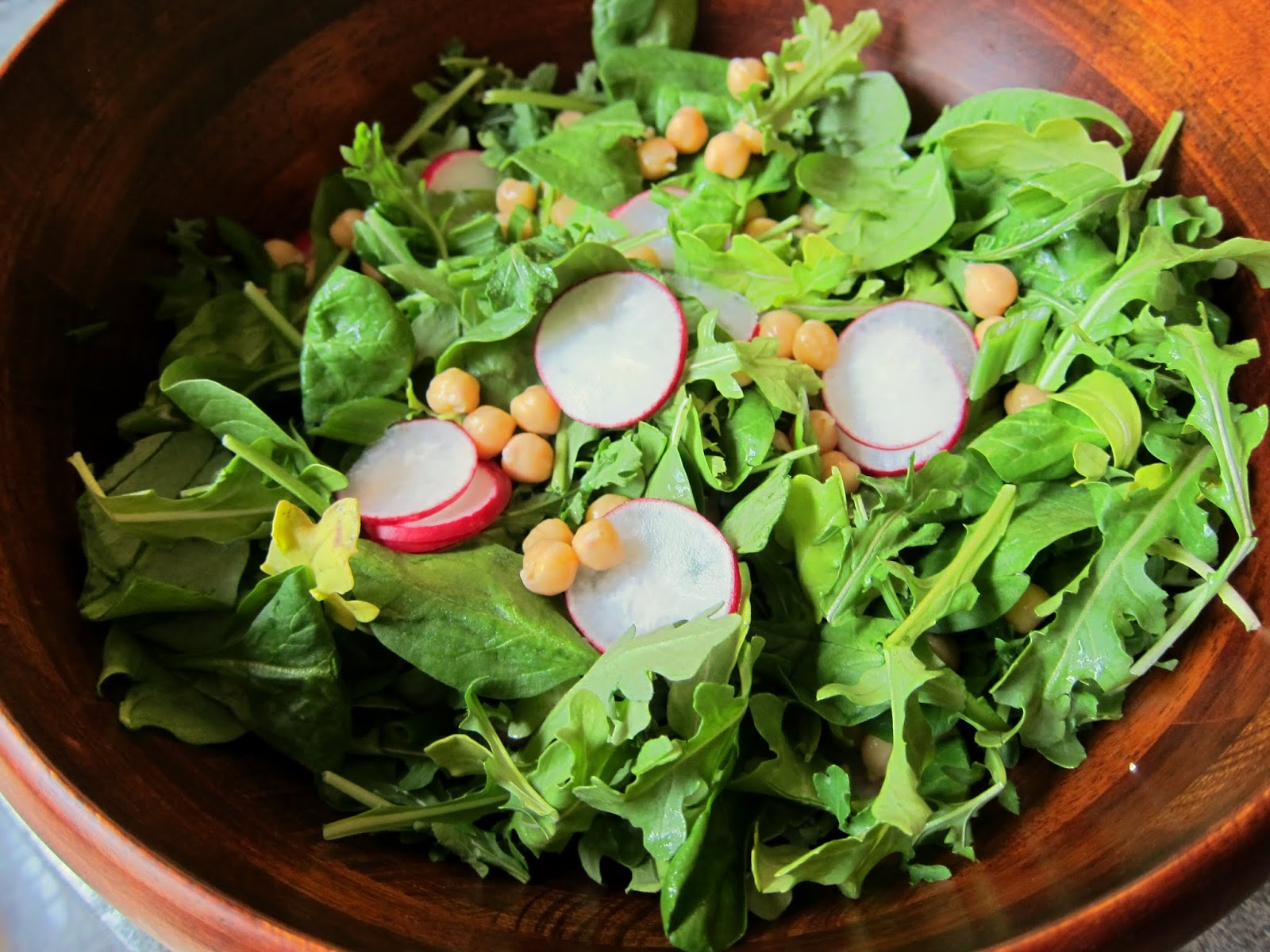 Chickpeas with Spring Green Salad and a Lemon Vinaigrette