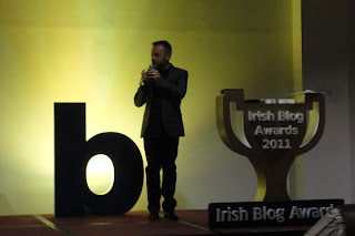Rick O'Shea kicking off the 2011 Irish Blog Awards ceremony