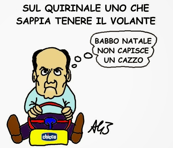 Quirinale, Bersani, Natale, vignetta, satira