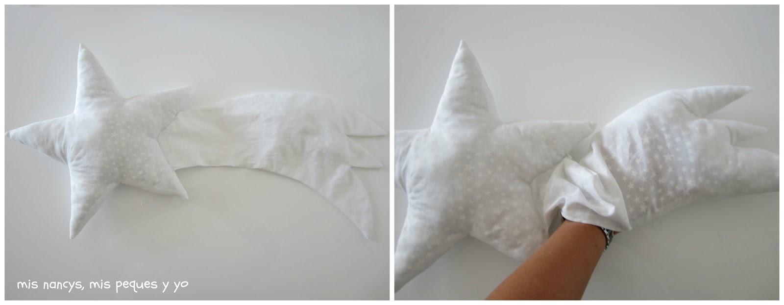mis nancys, mis peques y yo, tutorial DIY cojín con forma de estrella de Navidad, rellenar la cola