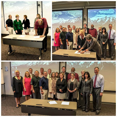 Image of MCCCD Executive Council signing sustainability commitment