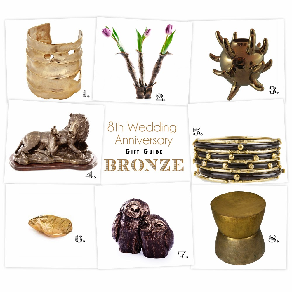 bronze 8th wedding anniversary gifts
