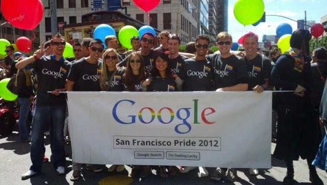 Não precisava procurar muito para encontrar funcionários do Google na Parada (Foto: Site TechCrunch)