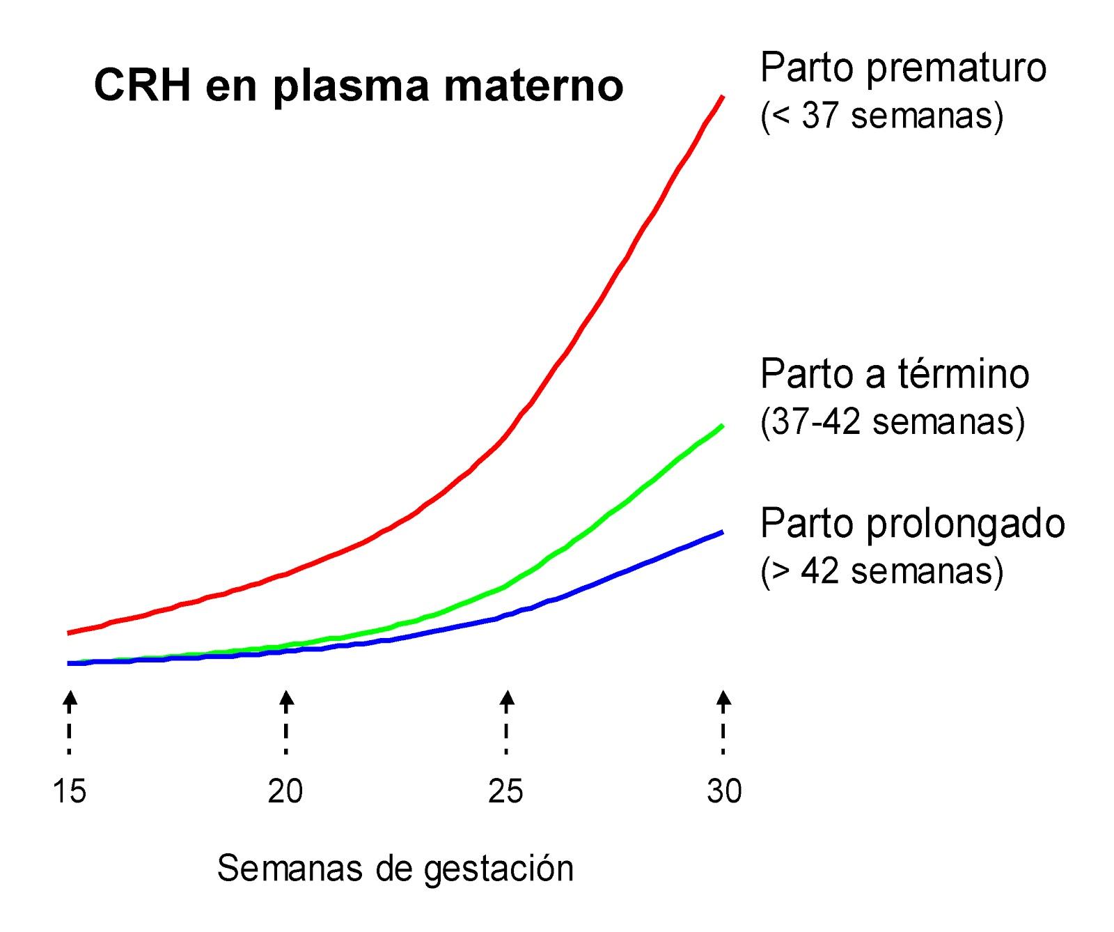 Niveles de CRH en plasma en madres con parto prematuro, a término y prolongado
