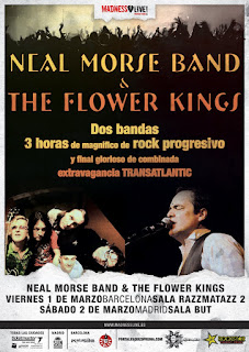 Cartel promocional de Neal Morse y The Flowers Kings en España
