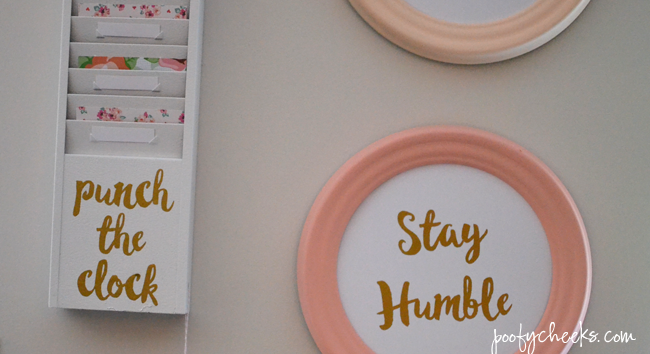 Pastel and Gold Office Space - DIY frames with BEHR #behrdiyexpert