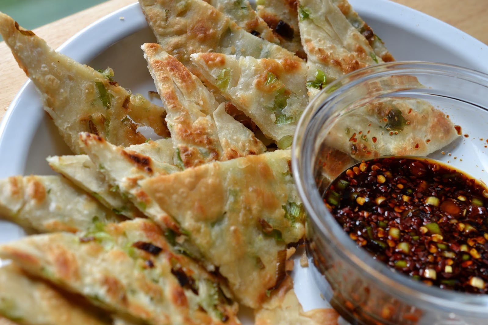 Greedy Girl : Scallion Pancakes with Spicy Soy Sauce