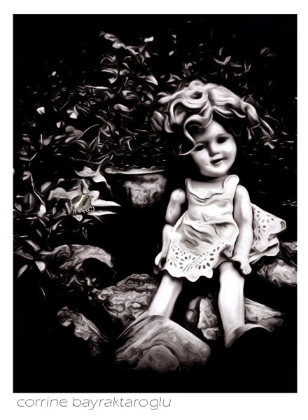 vintage doll b&w photograph