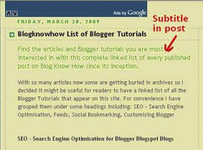 Subjudul (Subtitle) untuk SEO Posting Blog