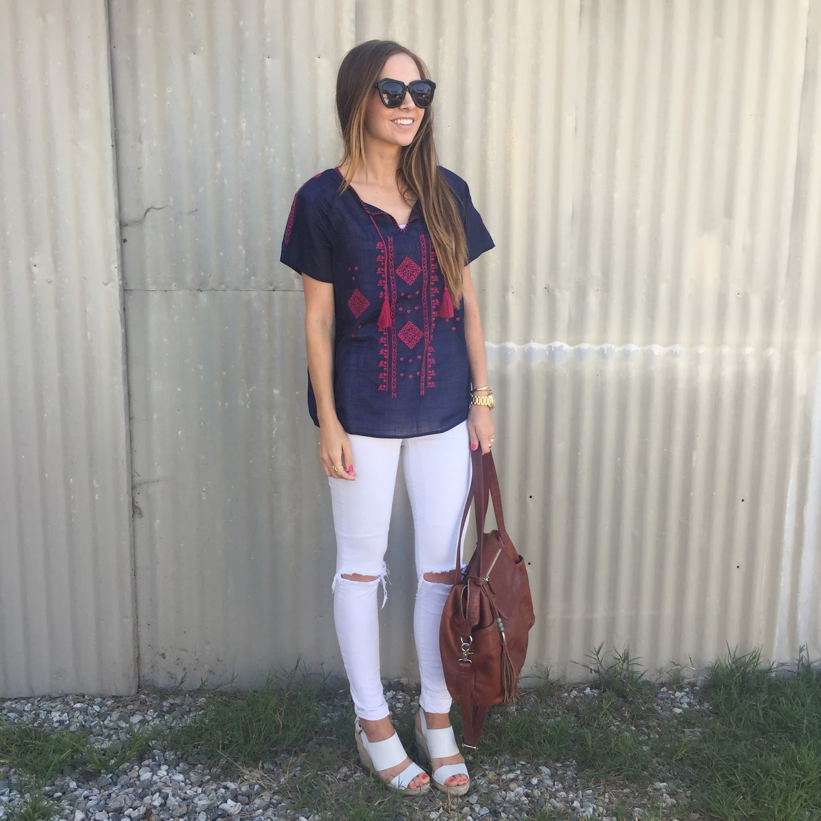 Merrick's Art | Embroidered Tee, Distressed Jeans, White Wedges