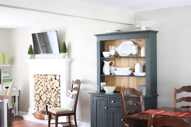 Green farmhouse open hutch in open floor kitchen - www.goldenboysandme.com