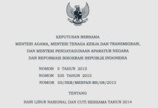 SKB 3 menteri tentang Hari libur Nasional dan cuti bersama tahun 2014