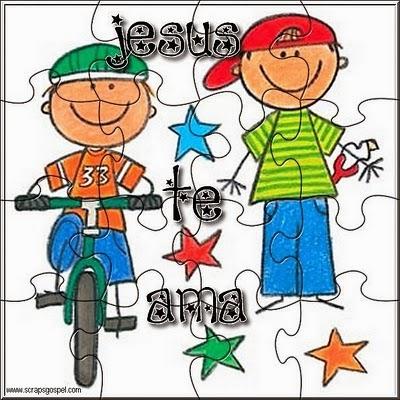 Jesus te ama meninos de bicicleta