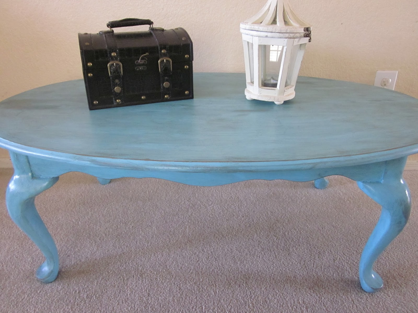 my rustic relics: blue oval coffee table