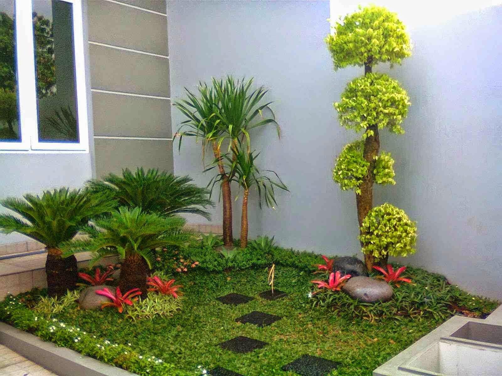 taman rumah minimalis di lahan sempit yang indah
