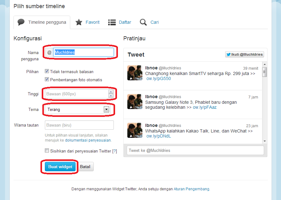 how to put twitter on blogger