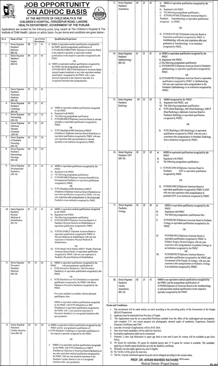 Doctors Jobs at Children's Hospital Lahore