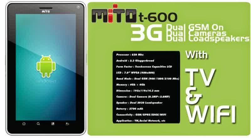 Harga Mito T600 Android Tablet Terbaru Dua kartu