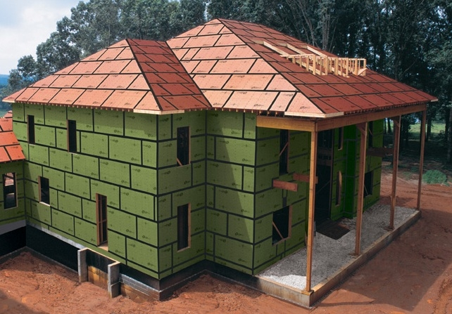 Modular home builder zip system walls and roof for for Sheathing house wrap