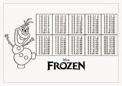 Tabuada para Imprimir Olaf