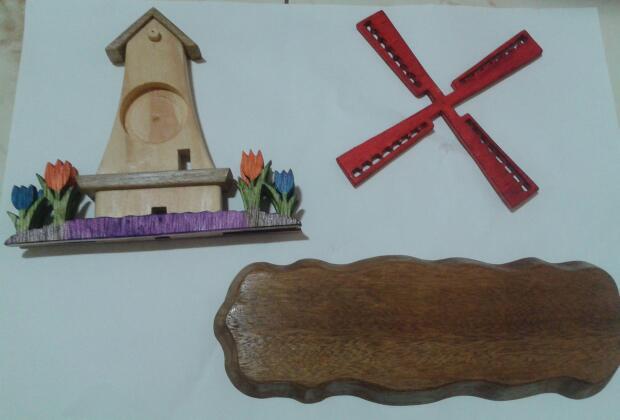 Adesivo Moveis Mdf ~ Arte em Madeira Moinho holand u00eas com relógio