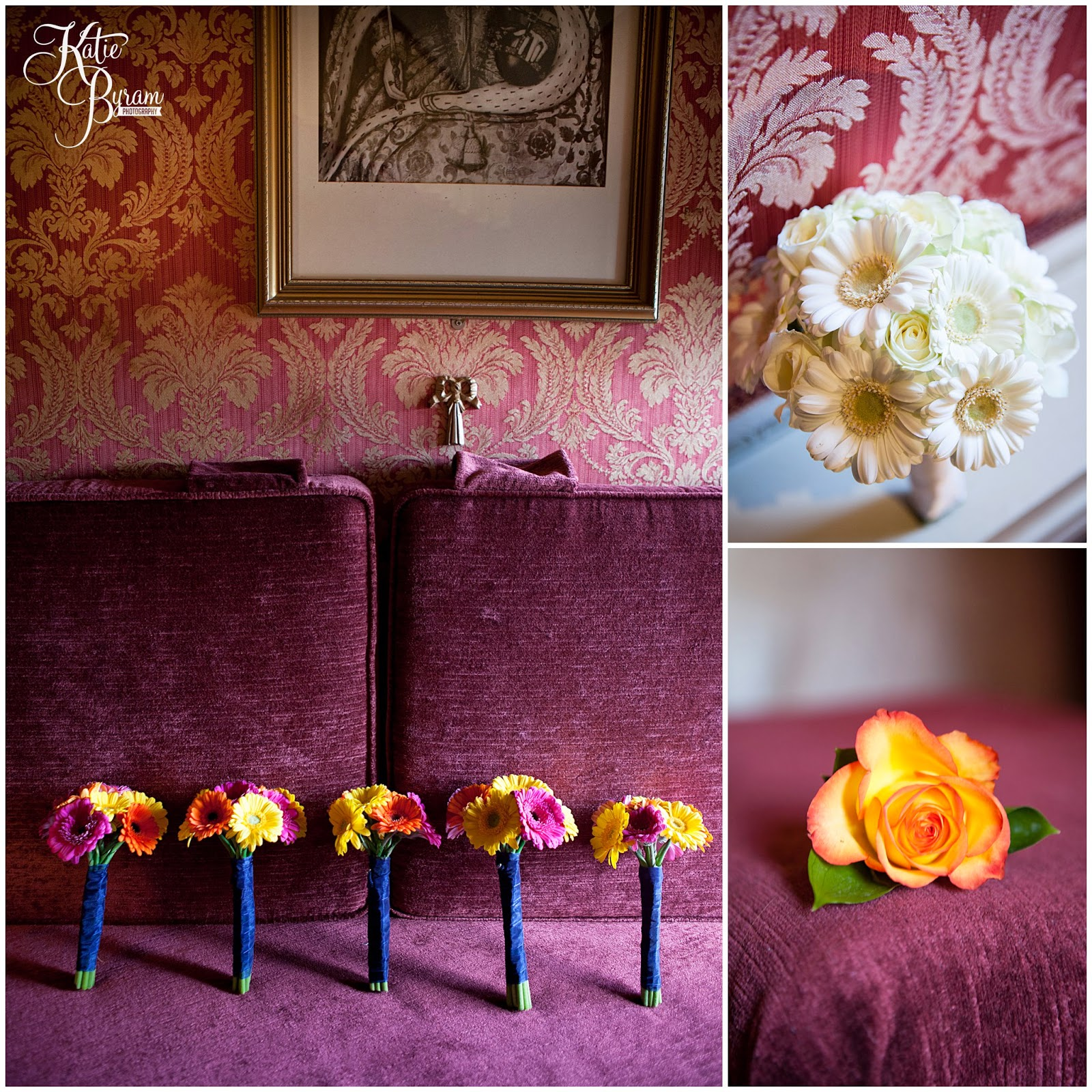 gerbera wedding bouquet, colourful wedding flowers, lumley castle wedding, durham wedding, katie byram photography, diane harbridge, carli peirson make up, the big event make up, wedding venues north east, northumberland wedding, quirky wedding photography, travel themed wedding, castle wedding north east, newcastle wedding, chester-le-street