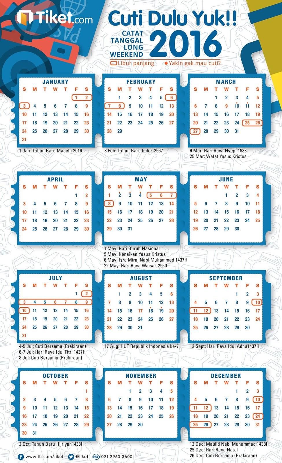 Kalendar Libur Nasional 2016 | The Traveling Cow