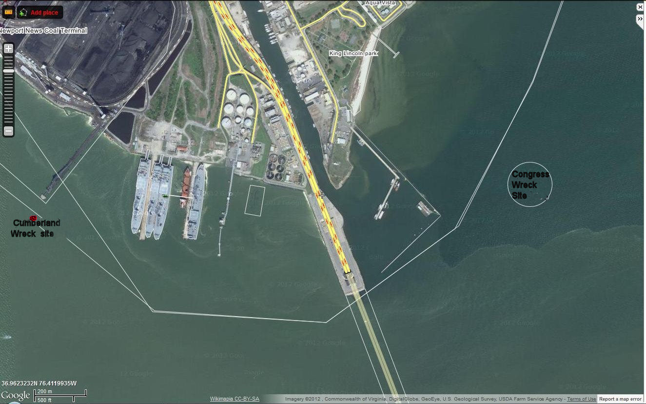 satellite image of the wreck sites straddling the monitor merrimac bridge tunnel the congress site was marked on the image
