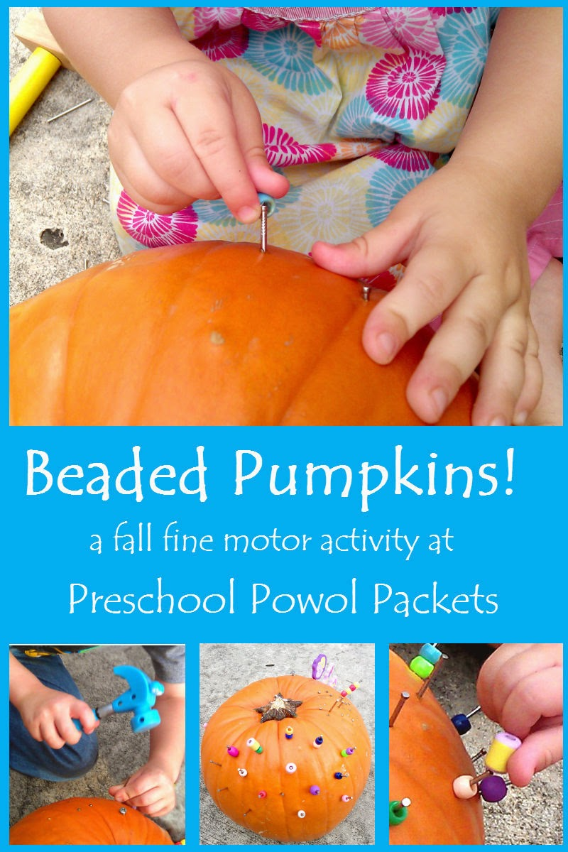 Beaded pumpkins a fall fine motor activity preschool for Fine motor activities for kindergarten